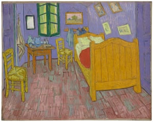 How scientists believe the second, 1889, version of The Bedroom at Arles painted by Vincent van Gogh originally looked just after being painted.