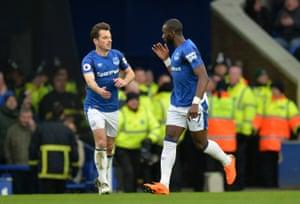 Everton's Yannick Bolasie celebrates scoring.