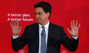 Britain's Labour Party leader Ed Miliband gestures during a speech on immigration at a campaign event in Pensby northern England.