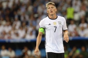 Germany captain Bastian Schweinsteiger during the Euro 2016 semi final match against France on July 07, 2016 in Marseille, France.