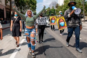 Los Angeles, US Activists from Active Advocate and others march during a Black Lives Matter protest downtown