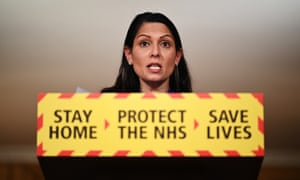 Priti Patel talks at a coronavirus press conference at Downing Street on 12 January. (Photo by Leon Neal/Getty Images)