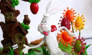 A chocolate tree and Easter eggs adorned with spikes of the coronavirus created by Belgian-based cake maker and pastry chef Michael Lewis-Anderson in La Hulpe near Brussels, Belgium 9 April, 2020.