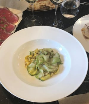 Extraordinary zucchini carpaccio at the very lovely Mr Porter steak house in Amsterdam.