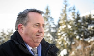 International trade secretary Liam Fox at the World Economic Forum in Davos, eastern Switzerland.