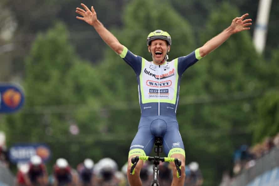 Dutch rider Taco van der Hoorn celebrates winning the third stage in Canale.