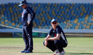 Trevor Bayliss and Keaton Jennings before the Bridgetown Test. The opener's place in the side is under threat