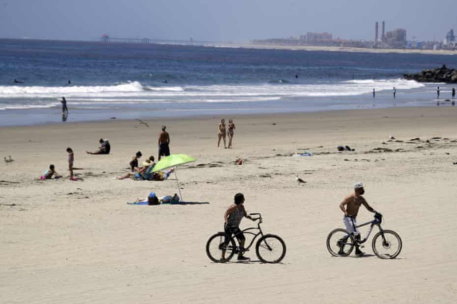 Officials say the number of people at Newport Beach over the weekend was far fewer than usual.