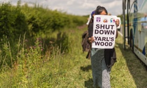 A protest outside the migrant detention centre Yarl's Wood last weekend.