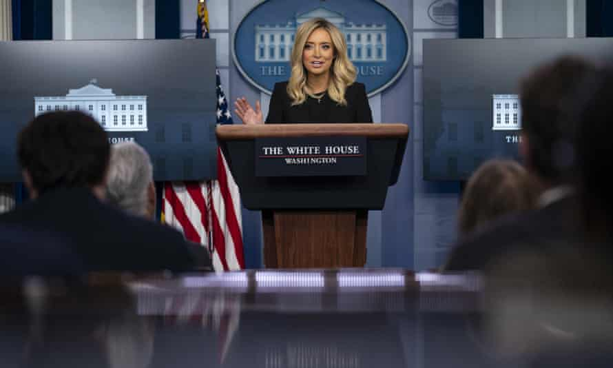 Kayleigh McEnany speaks during a press briefing at the White House, 1 May 2020.