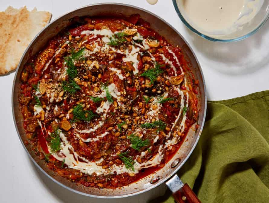 Ottolenghi Test Kitchen burnt aubergine, tomato and tahini