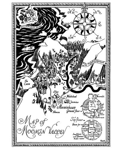 Map of Moomin Valley from Finn Family Moomintroll by Tove Jansson (1948, Sort of Books).