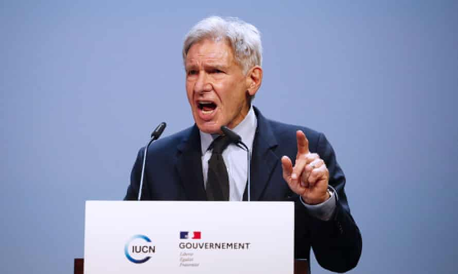 Actor Harrison Ford speaking on the first day of the IUCN's world conservation congress in Marseille, France, 3 September 2021