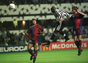 Asprilla scores his, and Newcastle's, third goal in their 3-2 win over Barcelona in September 1997.