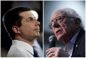 This combination of photos shows Pete Buttigieg and Bernie Sanders.