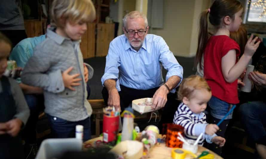 Labour leader Jeremy Corbyn at the Scrap Creative Reuse Arts Project in Leeds, England