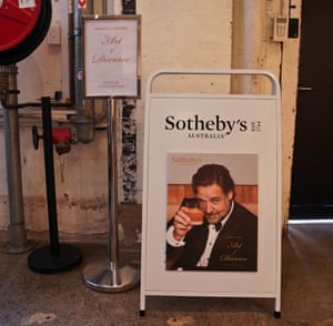 The poster advertising Russell Crowe's The Art of Divorce auction at Carriageworks in Sydney.