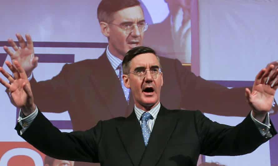 The ERG leader Jacob Rees-Mogg at a rally organised by Leave Means Leave.