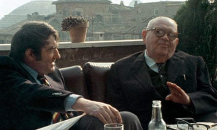 Lanzmann, left, interviewing Benjamin Murmelstein in The Last of the Unjust.