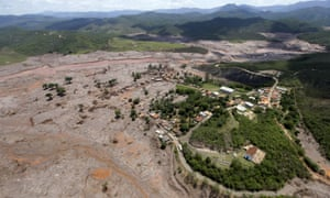 A general view of Bento Rodigues district, which was covered with mud after a dam owned by Vale and BHP Billiton burst.