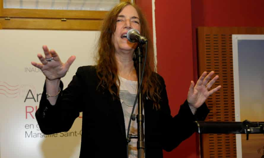 Patti Smith at Saint Charles station in Marseille, where she named a waiting room for poet Arthur Rimbaud.