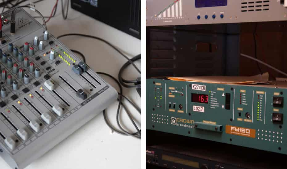 Left: Mixer and headphones at the radio station in Willcox. Right: a radio transmitter inside the dungeon.
