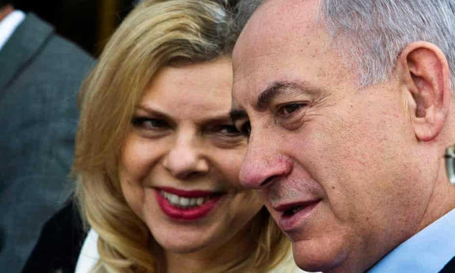 Israeli prime minister Binyamin Netanyahu (R) and his wife Sara, who described him as 'a giant of a leader'.