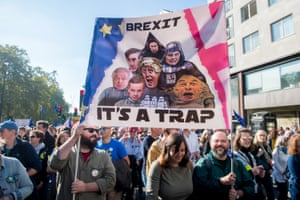 Protesters seen during the march to demand a people's vote on Brexit.