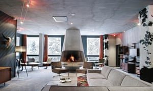 The lounge at Terminal Neige Totem at the Flaine ski resort in the French Alps