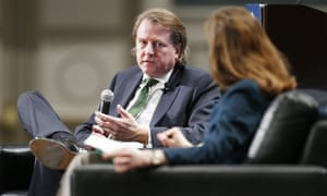Don McGahn talks with Jan Crawford, with CBS News, at a Florida conference staged by the Federalist Society on 31 January 2020.