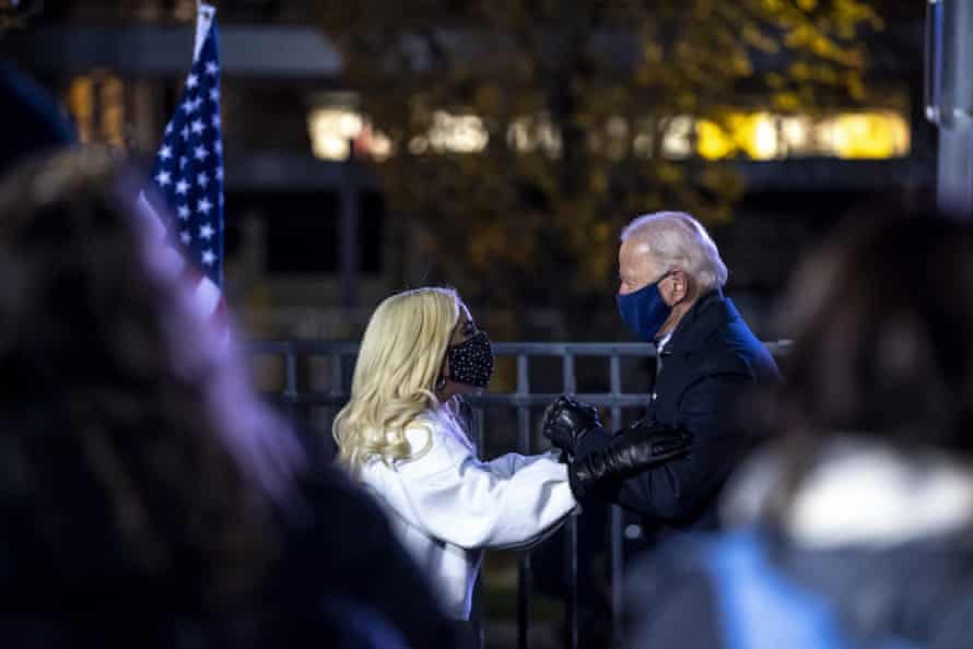Lady Gaga and Joe Biden at an election eve rally in Pittsburgh.