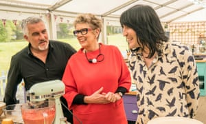 Paul Hollywood with Prue Leith and Noel Fielding.