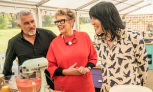 Old hat? The Great British Bake Off judges Paul Hollywood (left) and Prue Leith with host Noel Fielding.