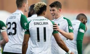 Scott Sinclair celebrates scoring Celtic's second goal against Hamilton with Ryan Christie.
