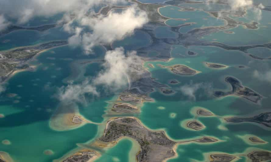 Aerial view of hypersaline lakes in Christmas Island (Kiritimati), Kiribati, where experts speculate China could be eyeing as the site of a military port.