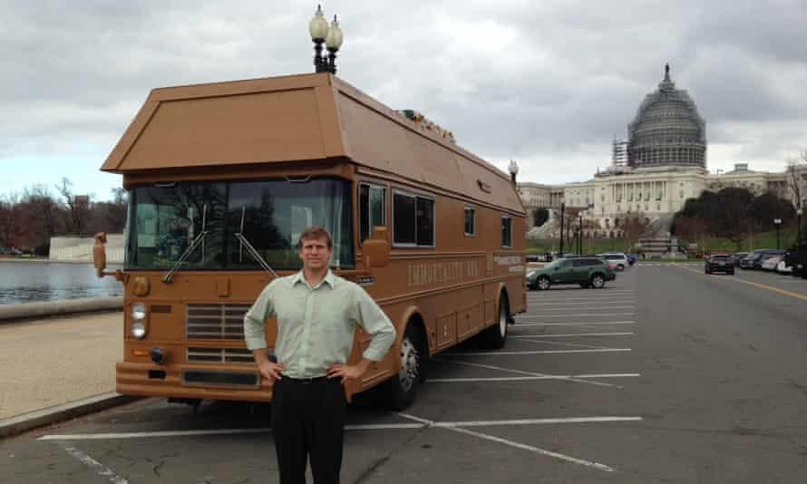 Zoltan Istvan is running an independent campaign for president from his 'Immortality Bus', which is shaped like a coffin.