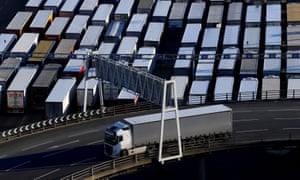 Lorries at the Port of Dover – the vital crossing point to mainland Europe.
