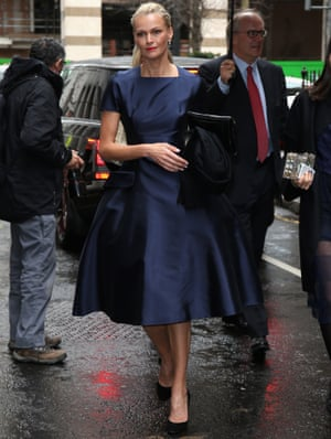 Sarah Murdoch arrives for the wedding of Hall and Rupert at St Brides Church on Fleet Street.