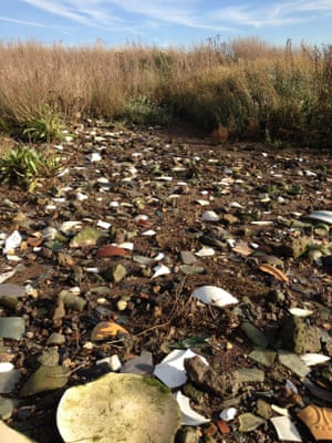 Landfill eroding at East Tilbury in Essex