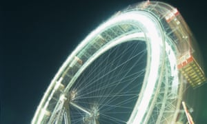 Vienna's ferris wheel at night.