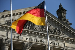 A German flag at the Reichstag, seat of the Bundestag, on October 17, 2017 in Berlin, Germany.