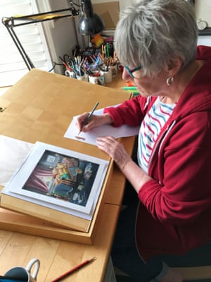 Jill Murphy at work. Murphy died peacefully following a long struggle with cancer on 18 August. Her son Charlie and niece Isabelle were at her side in hospital in Cornwall.