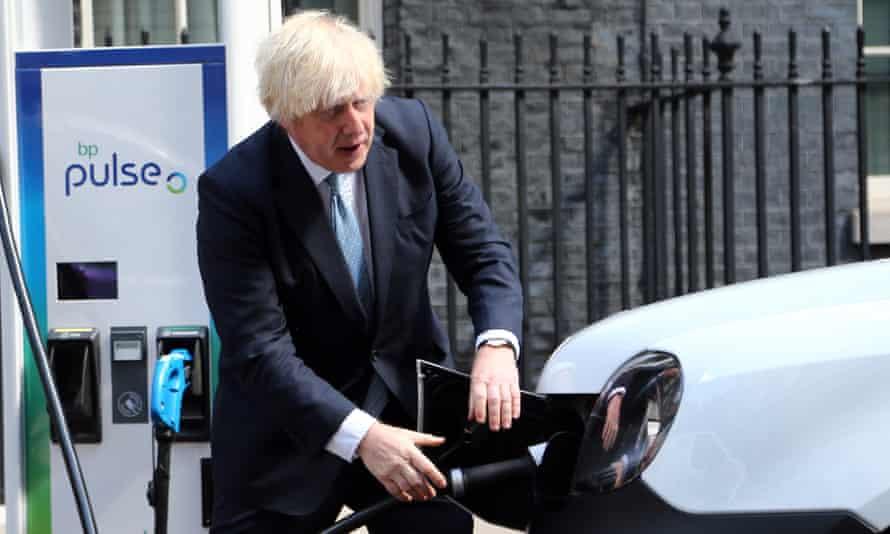 Boris Johnson promotes electric cars, London,  29 July 2021.