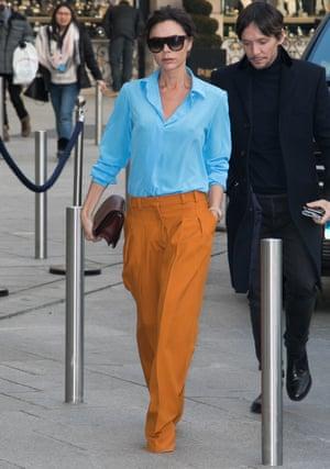 Victoria Beckham in happy tones.