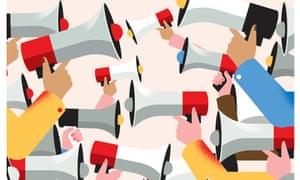 illustration of multiple megaphones shouting at each other