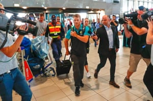 Warner at Cape Town airport earlier.