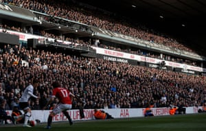 The crowd bathed in sunlight watch near the end of the game against Manchester United in April 2016.