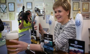 Nicola Sturgeon during a visit to the Inveralmond Brewery in Perth.