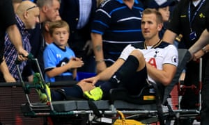 Harry Kane is taken away on a stretcher after injuring his ankle against Sunderland earlier this month, an issue that will keep him out until November.