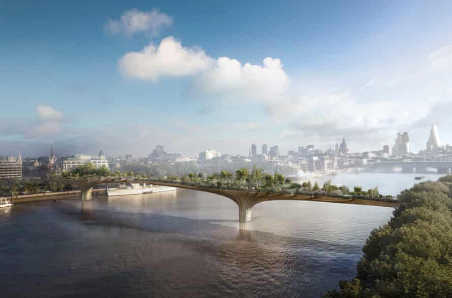 An artist's impression of their proposed Garden Bridge across the River Thames.
